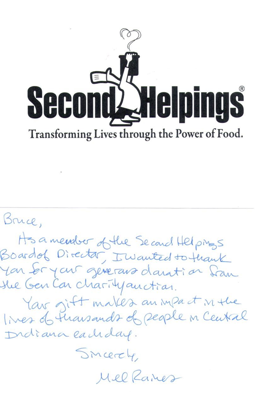 Second Helpings Charity – Thank you Note